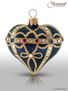 Weihnachtskugel Herz À la Fabergé, Blau - Edition 2019 mit Swarovski Kristallen