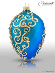 """Weihnachtsform Ei à la Fabergé """"Pjotr"""" - Blau mit Swarovski Kristallen"""