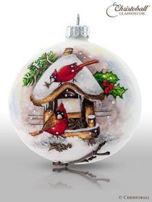 Christbaumkugel Artist Art - Am winterlichen Vogelhäuschen