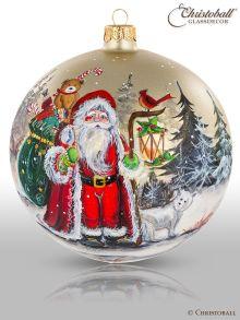 Christbaumkugel Artist Art Weihnachtsmann mit Polarwolf