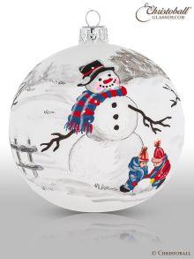 Christbaumkugel Artist Art Kinder bauen einen Schneemann