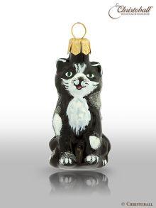 kleinere Formen Weihnachtskugel Katze Schwarz