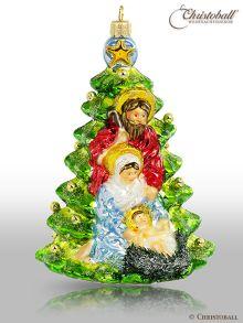 Christoball Premium Weihnachtskugel Heilige Familie am Christbaum
