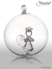 Glaskunst Glaskugel mit Engel und Trompete