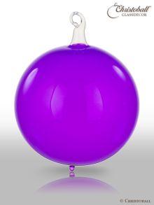 Glas-Kugel transparent mit Glashaken L - Crazy Lila
