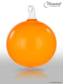 Glas-Kugel transparent mit Glashaken L - Happy Orange