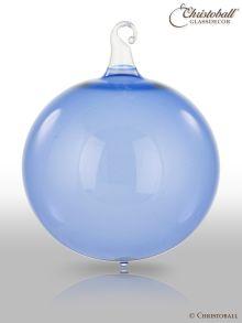 Glas-Kugel transparent mit Glashaken L - Hyazinthen-Blau