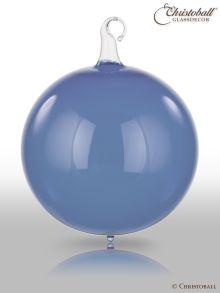 Glas-Kugel transparent mit Glashaken L - Jeans- / Dunkelblau