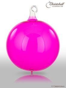 Glas-Kugel transparent mit Glashaken L - Pink