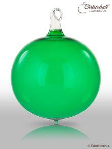 Glas-Kugel transparent mit Glashaken L - Smaragd-Grün