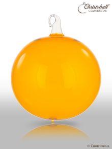 Glas-Kugel transparent mit Glashaken L - Sunny Gold-Orange