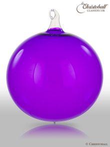 Glas-Kugel transparent mit Glashaken XL - Crazy Lila