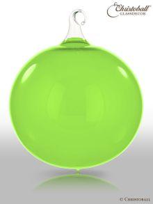 Glas-Kugel transparent mit Glashaken XL - Mai-Grün