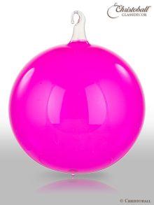 Glas-Kugel transparent mit Glashaken XL - Pink