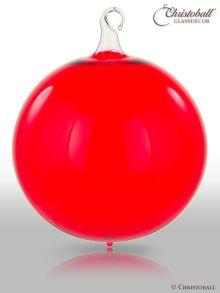 Glas-Kugel transparent mit Glashaken XL - Rot