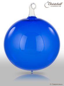 Glas-Kugel transparent mit Glashaken XL - Royal-Blau