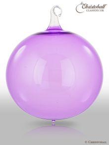 Glas-Kugel transparent mit Glashaken XL - Veilchen Lila