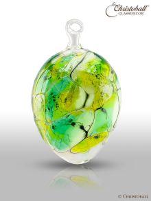 Glaskunst - Farbiges Glas-Ei, Grün