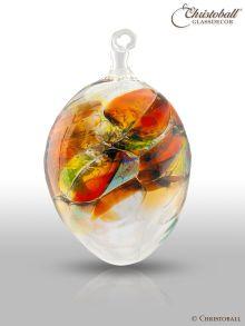 Glaskunst - Farbiges Glas-Ei, Orange-Blau