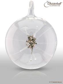 Glaskunst - Glaskugel mit Stern, Silber