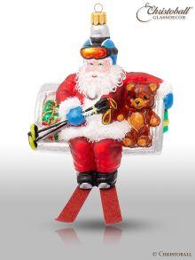 Weihnachtsform aus Glas - Weihnachtsmann im Skilift
