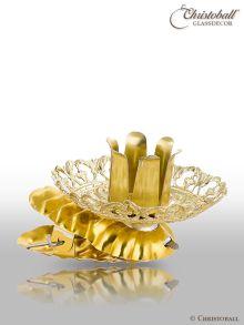 Baumkerzenhalter mit Ornament-Rand, Gold