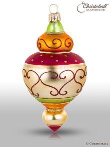 Magic Oriental Weihnachtskugel Form 4 Grün Orange Bordeaux
