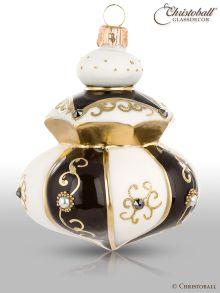 Magic Venezia Weihnachtskugel Form 5 Weiss-Schwarz-Gold