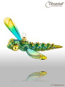 Weihnachtsfigur - Libelle - Smaragd mit Swarovski-Kristallen