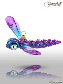 Weihnachtsfigur - Libelle - Violet mit Swarovski-Kristallen