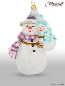 Weihnachtsfigur - Schneefrau mit Schneebaby