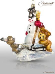 Weihnachtsform - Schneemann auf dem Schlitten