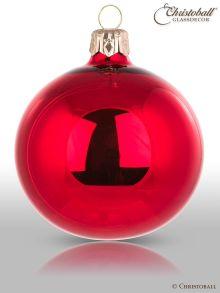 Weihnachtskugel uni rot lack
