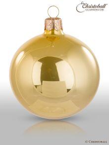 Pure Colour M Weihnachtskugel 6er / Hellgold, Perlglanz