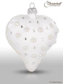 Weihnachtskugel Weihnachtsform Herz Weiss
