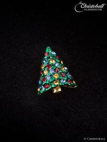 Pin, Brosche Tannenbäumchen, Swarovski-Kristalle