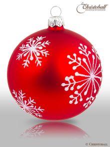 Schneeflöckchen Weihnachtskugel Klassisch-Rot