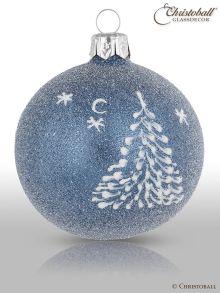 Weihnachtskugel Schneewald / Jeans-Blau