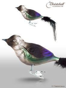 Dohle - Vogel mit Natur-Federn und Clip