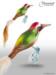 Weihnachtsschuck Vogel Specht mit Naturfedern