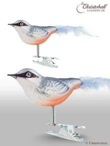 Weihnachtsschmuck Kleiber Vogel mit Natur-Federn