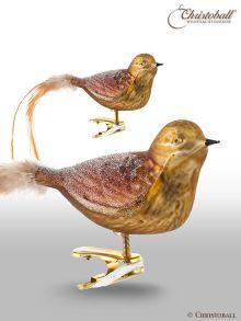Vogel mit Federn und Clip Braun-Beige