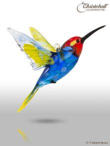 Vollglas-Vogel: Kolibri Rot, Blau, Gelb